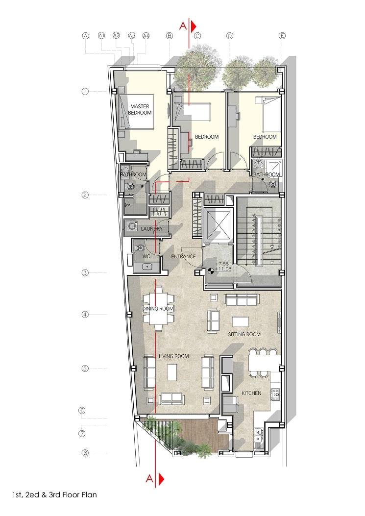 پلان ساختمان مسکونی حقیقی / استودیوی معماری بوژگان 2