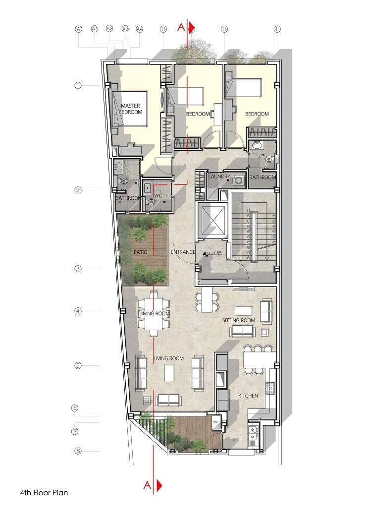 پلان ساختمان مسکونی حقیقی / استودیوی معماری بوژگان 3