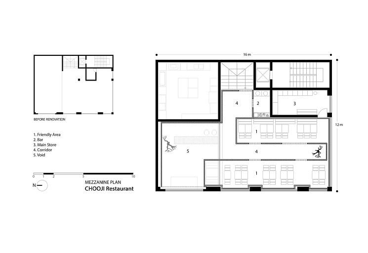 رستوران چوجی طراحی پلان توسط استودیوی آدمون3