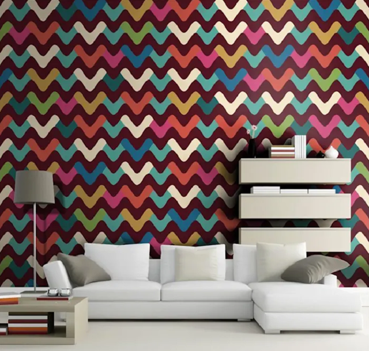 Rengarenk geometrik desenler ile retro havası