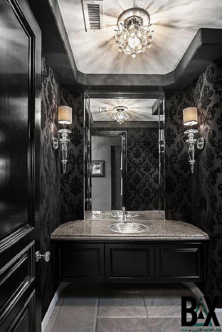 هارمونی و ظرافت در حمام ها با رنگ های تیره