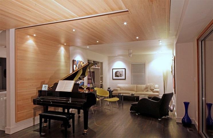 اتاق زندگی با سقف های چوبی-11