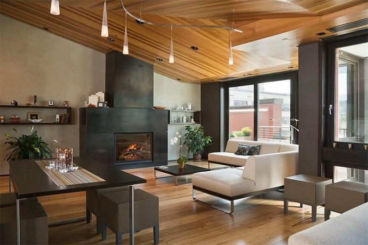 اتاق زندگی با سقف های چوبی-13