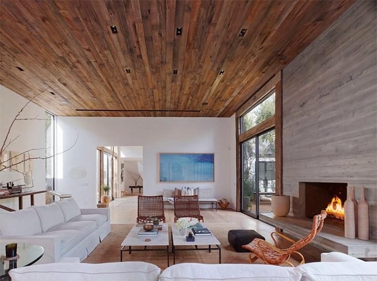 اتاق زندگی با سقف های چوبی-14