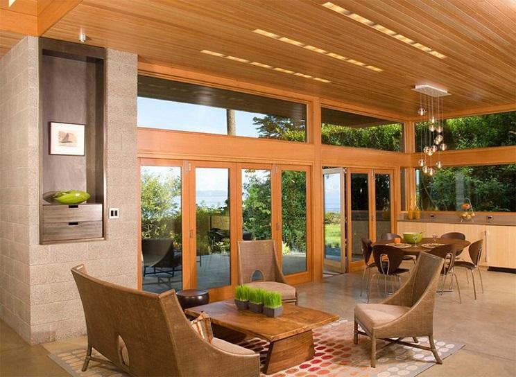 اتاق زندگی با سقف های چوبی-15