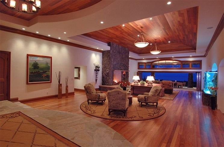 اتاق زندگی با سقف های چوبی-4