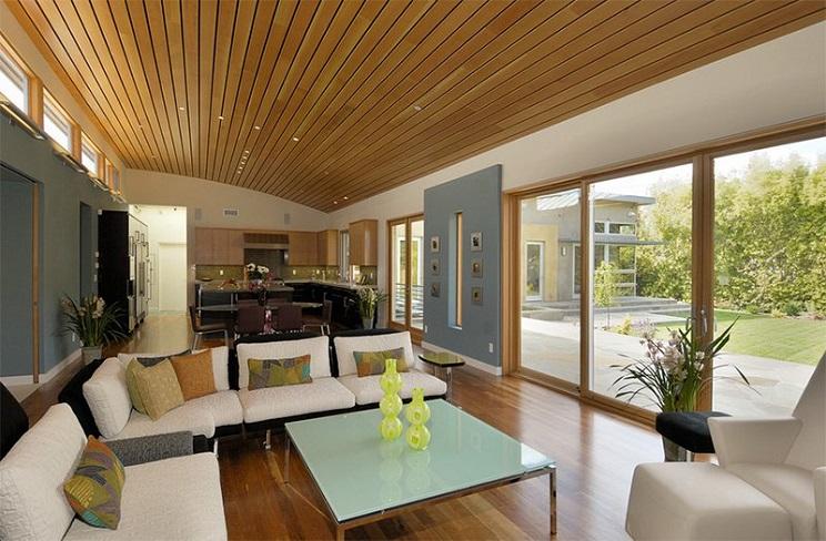 اتاق زندگی با سقف های چوبی-5