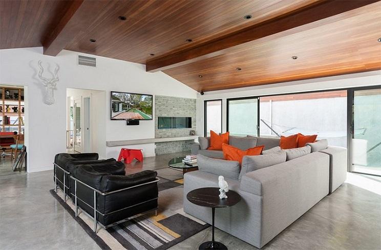 اتاق زندگی با سقف های چوبی-9