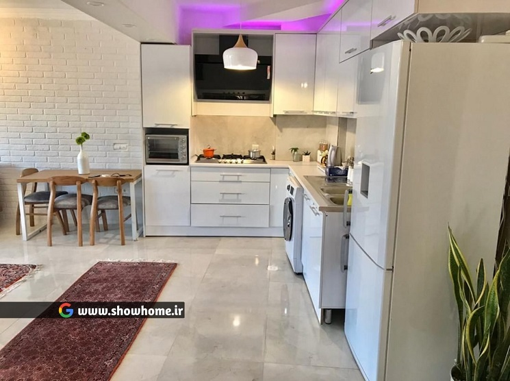 آشپزخانه_دکوراسیون خونه پر نور و دلباز رضا 70 متر از کرج