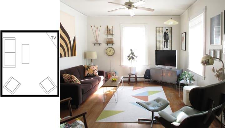ایده های چیدمان مبلمان برای یک اتاق نشیمن کوچک